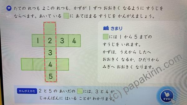 スマイルゼミの1年生の算数の画面