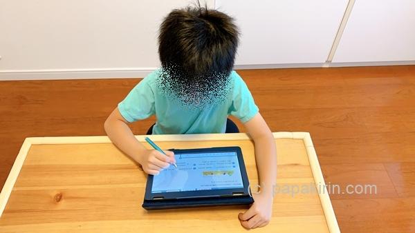 リス算数で学習する1年生の次男