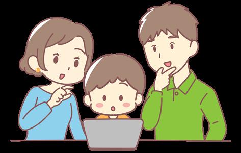 タブレットを見ながら親子で話すイラスト