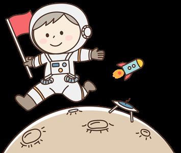 月面を歩く宇宙飛行士のイラスト