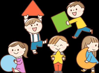 様々な図形を持つ子供達