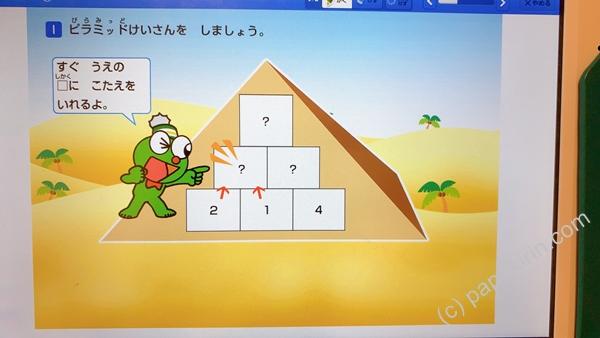 カンがえるが、ピラミッド計算の手順を説明する写真